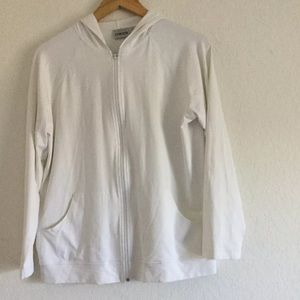 CHICOS Full Zip Hoodie sweater Ivory Size 1